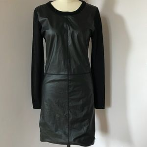 My Tribe Black Leather Long Sleeve Dress Sz S